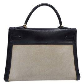 Hermès-Kelly 32 toile et cuir bandouliere-Bleu Marine