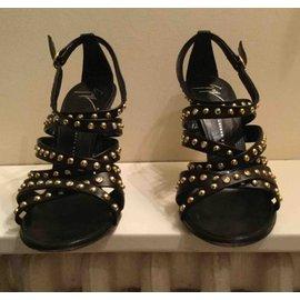 Giuseppe Zanotti-Black rinestone sandals-Black