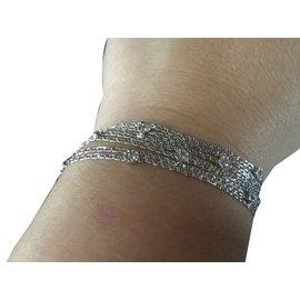 inconnue-Bracelet vintage en or et diamants-Blanc