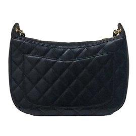 Chanel-Superbe Sac Chanel Classique en cuir grainé noir état neuf !-Noir