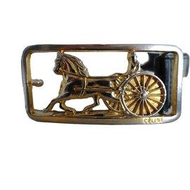 Céline-Celiné  vintage carriage buckle belt-Black