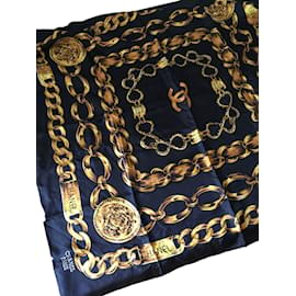 Chanel-Rue Cambon scarf-Black,Golden
