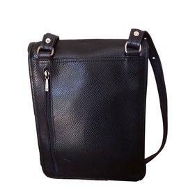 Longchamp-Sacoche  cuir-Noir