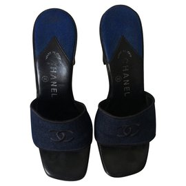 Chanel-CHANEL Sandals-Black,Blue