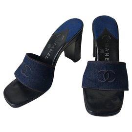 Chanel-CHANEL Escarpins-Noir,Bleu
