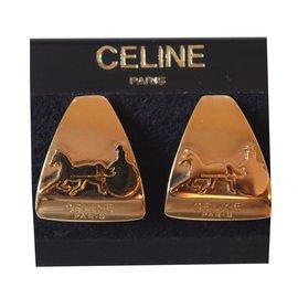 Céline-Vintage Céline clip-on earrings-Golden