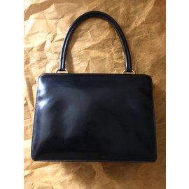 Hermès-Sac à main Vintage-Noir,Doré