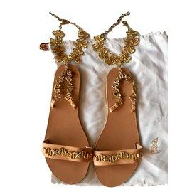 Ancient Greek Sandals-NYX-Beige,Doré