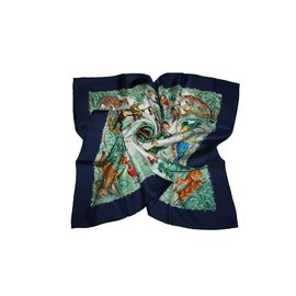"Hermès-Carré Hermès : "" Equateur ""-Bleu Marine"