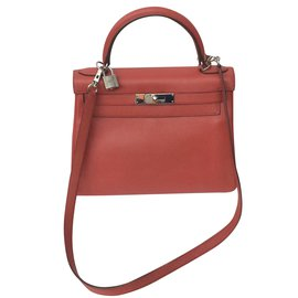 Hermès-Sublime et rare Kelly 28 à bandoulière rouge Bougainvilliers en cuir epsom !-Rouge