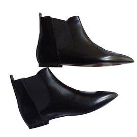 Isabel Marant-Boots plates cuir-Noir