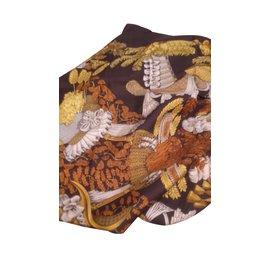 Hermès-Scarves-Brown