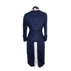 Renato Nucci-Skirt-White,Navy blue