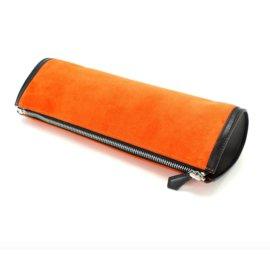 Hermès-Pochette cuir et daim Hermès-Orange