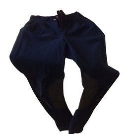 Hermès-Pantalons-Bleu Marine