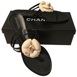 Chanel-Sandales-Noir,Blanc cassé