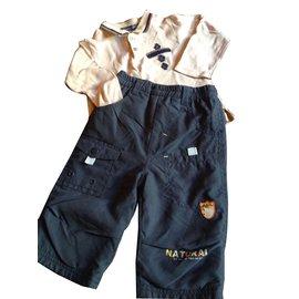 Autre Marque-Pantalons-Bleu,Beige