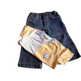 Autre Marque-Pants-Yellow,Navy blue