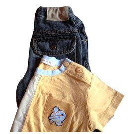 Autre Marque-Pantalon-Jaune,Bleu Marine