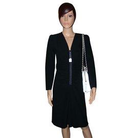 Yves Saint Laurent-Yves Saint Laurent robe en crêpe noir rehaussée de strass-Noir
