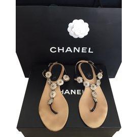 Chanel-Sandales-Noir,Argenté