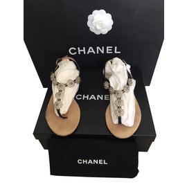 Chanel-Sandals-Black,Silvery