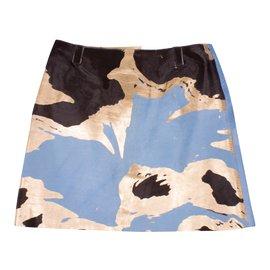 Chanel-Chanel Calfskin Skirt - light blue/brown/gold-Blue