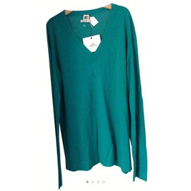Hermès-V neck sweater-Green