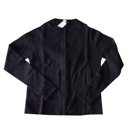 "Hermès-Twin set black cashmere  with iconic ""hermes lock"" zip detail-Black"