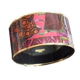 Hermès-BRACELET NEUF EMAIL  CONTOUR PLAQUE OR-Multicolore