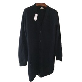 Hermès-Cardigan long en cachemire-Bleu Marine