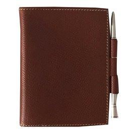 Hermès-agenda  petit modèle avec stylo en argent-Caramel