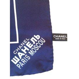 Chanel-Superbe Carré Chanel en soie série limitée neuf !-Blanc,Bleu Marine