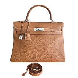 7cda1e2a9d98 Hermès-Sac HERMES Kelly 35 cm Togo Gold Camel NEUF-Marron clair ...