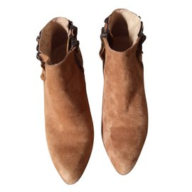Bel Air-Boots daim compensées-Caramel