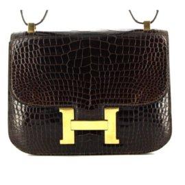 Hermès-Sac HERMES Constance Crocodile, Excellent état-Marron