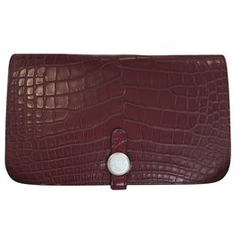 Hermès-Dogon Duo Alligator-Dark red