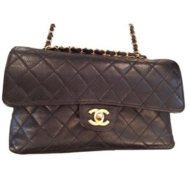 Chanel-Superbe Chanel Timeless Medium en cuir caviar noir !-Noir