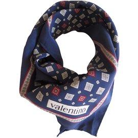Valentino-carré de soie Valentino-Bleu
