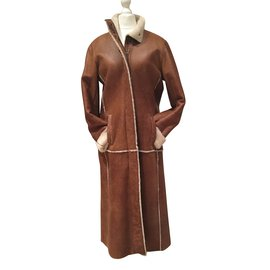 Burberry-Lamb leather sheep fur lined Coat-Chestnut