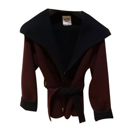Hermès-Coats, Outerwear-Dark red