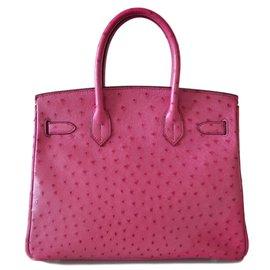 Hermès-BIRKIN 30 autruche-Rose