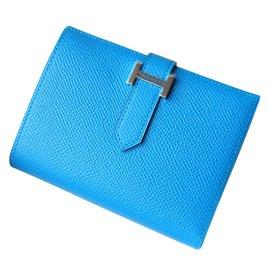 Hermès-Béarn compact wallet-Blue