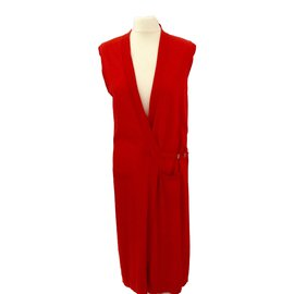 Hermès-Long Sleeveless coat-Red
