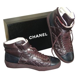 Chanel-Baskets-Noir,Bordeaux