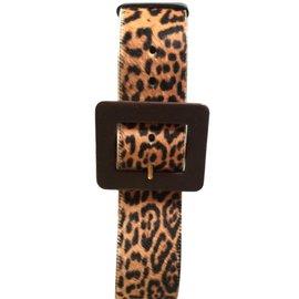 Yves Saint Laurent-Ceinture YSL imprimée léopard-Imprimé léopard