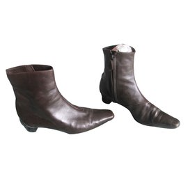 Hermès-Ankle Boots-Dark brown