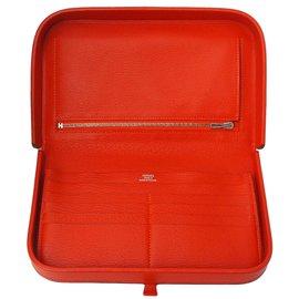 Hermès-Portefeuille pochette Hermès-Orange
