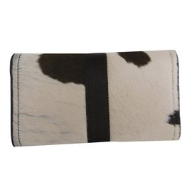 Christian Dior-Christian Dior Ponyskin Leopard Print Long Wallet Clutch Purse-Dark brown