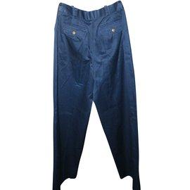 Chanel-Pantalons-Bleu Marine